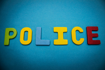 word police on blue background