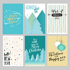 Christmas and New Year vintage greeting cards set. Hand drawn vector illustrations for greeting cards, website and mobile banners, marketing material.
