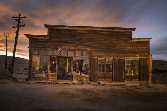 Old Boone General Store at Sunset,Ghost Town of Bodie