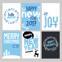 Christmas and New Year hand drawn greeting cards set. Vector illustrations for greeting cards, website and mobile banners, marketing material.
