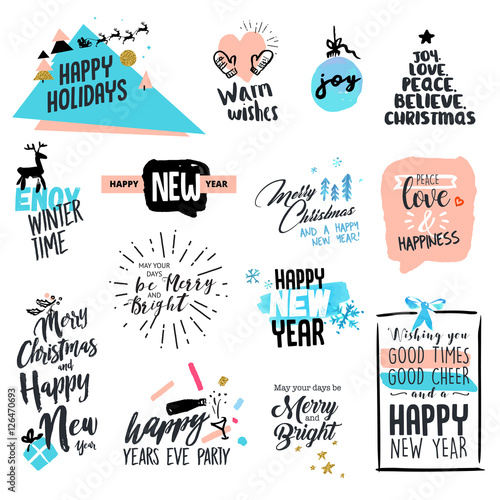 Set of christmas and new year vintage style badges and labels hand set of christmas and new year vintage style badges and labels hand drawn watercolor vector m4hsunfo
