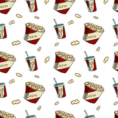 Drink and popcorn. Seamless pattern.