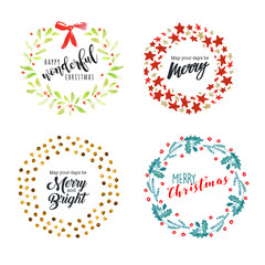 Christmas and New Year flat design badges and elements. Hand drawn vector illustrations for greeting cards, website badges and banners, gift tags and marketing material.