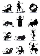 Signs Greek Zodiac Horoscope, Illustration, Silhouettes, Symbols. Icons, Vector, Isolated on background.