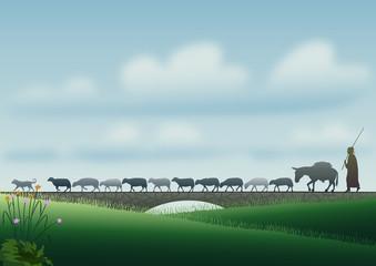 Çoban (sürüsü ve köpeği)