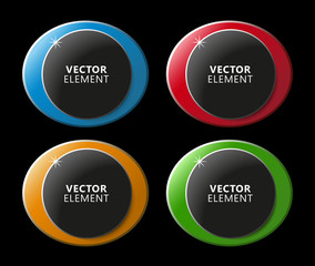 High Quality Modern Circular Color Labels on Black Background. Vector Isolated Illustration.