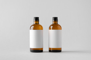 Pharmaceutical Bottle Mock-Up - Two Bottles. Blank Label