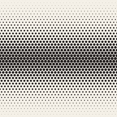 Vector Seamless Black and White Halftone Gradient Circles Pattern
