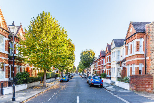 Chiswick suburb street in autumn, London