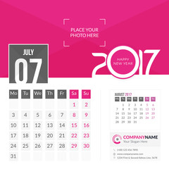 July 2017. Calendar for 2017 Year. 2 Months on Page. Vector Design. Template with Place for Photo and Company Logo