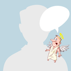 Blank male avatar or profile picture with angel conscience character on his shoulder advising him.