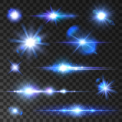 Stars set. Icons of twinkling star, shining rays