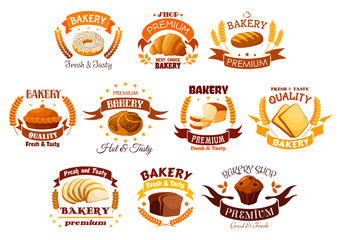 Bakery shop signs sets of bread, pastry desserts