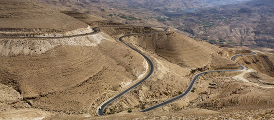 View of a winding road through the Jordan Rift Valley