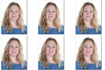 Passport picture of woman with long blond hair - USA form -6