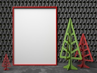Mock-up red canvas frame, and Christmas trees. 3D