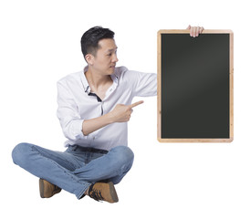 Man holding chalkboard
