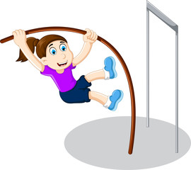 funny girl cartoon playing high jump