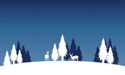 Silhouette of deer and spruce landscape winter