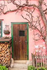 Door of Typical house in Hallstatt, Austria.