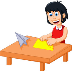 funny little girl cartoon playing folding paper