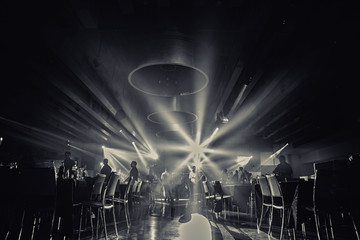 restaurant black and white photo.ballroom    .wedding party people dance in  party