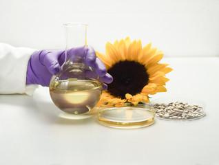 Analysis of sunflower oil in laboratory