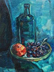 Натюрморт с бутылками и виноградом, живопись маслом