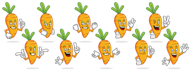 Carrot mascot vector pack, Carrot character set, vector of Carrot