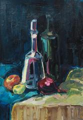 Натюрморт с бутылками, живопись маслом
