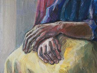 рисунок рук старой женщины, живопись маслом