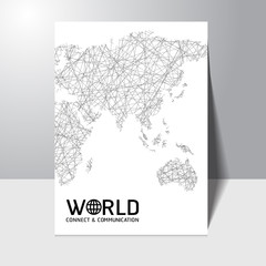 Abstract connect and communication world map concept Brochure Flyer design vector template