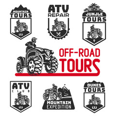 Set of ATV vehicle logo and emblems. All-terrain 4x4 quad illustration.