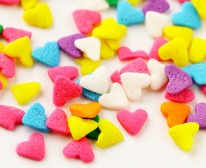 colorful candies in the form of hearts