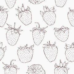 Seamless vector pattern with strawberries. Hand-drawn wallpaper.