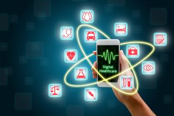 Woman using smartphone, Digital healthcare concept.