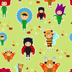 Kids in fancy insect and flower dresses seamless pattern. Vector illustration
