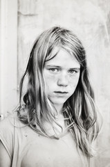 Portrait of serious girl