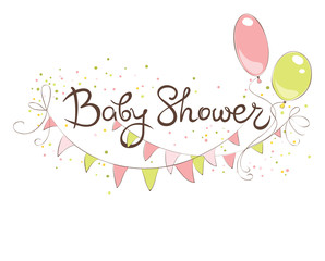 Baby Shower banner for girl / Funny vector illustration with balloons and flags