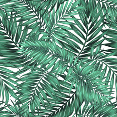 Seamless Tropical Jungle Palm Leaves Pattern. Green Blue Turquoise on White Background. Exotic Camouflage Texture. Vector Design Illustration.