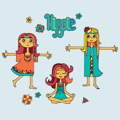 Group of hippie girls