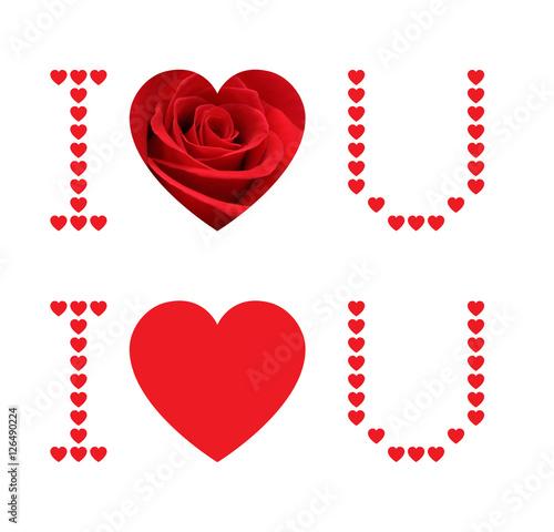 I love you and red rose heart