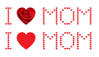 I love mom and red rose heart