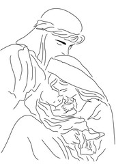 Baby Jesus Mary and Joseph | Christmas line art illustration | Bible story coloring