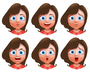 Female avatar vector character. Set of teenager girl heads with facial expressions and wavy long hair for fashion isolated in white background.