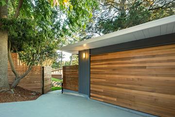 New Garage in wooden style.
