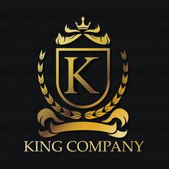 King company emblem icon. Exclusive rich club glamour and member theme. Black polygonal background. Vector illustration
