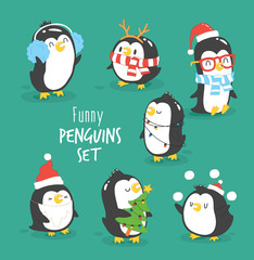 Merry Christmas penguins set. Funny penguins in Christmas costumes. Vector illustration.