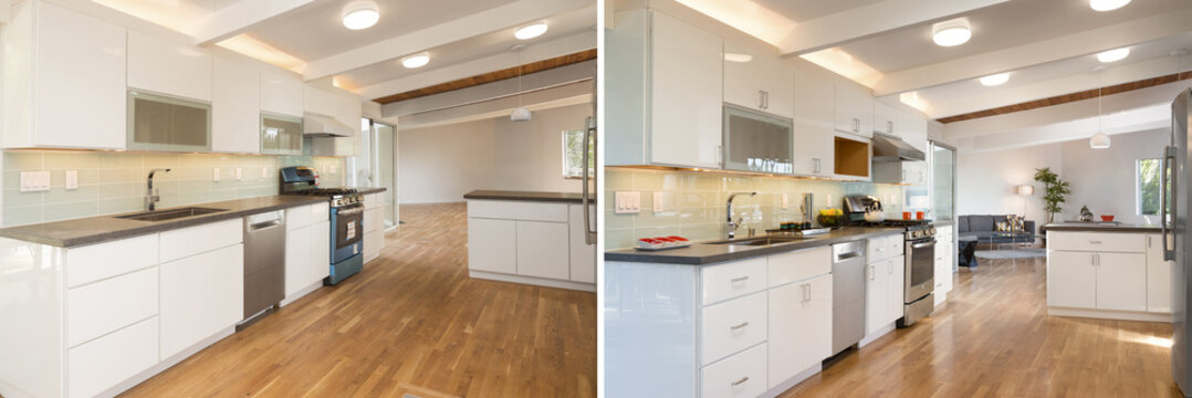 Before and After photo of newly installed and decorated modern w