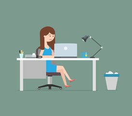 Happy woman working with laptop. Business illustration in flat style